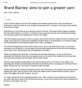 Independent article Brand Blarney aims to spin a greater yarn